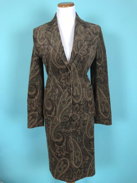 Celine Corduroy Paisley Suit Jacket Size 38 Skirt Size 40 (France)