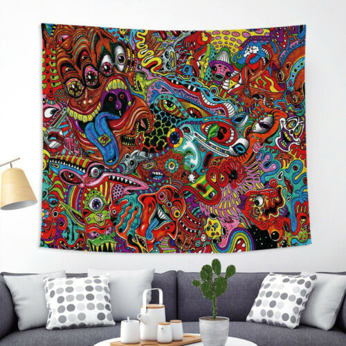 Psychedelic Tapestry Wall Hanging Colorful Boho Mandala Tapestry  Bedroom Dorm