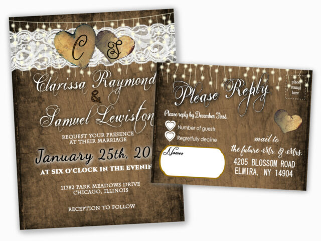 Wedding Invitations Or Bridal Shower Heart Country Rsvp Cards Set Of 100 Rustic