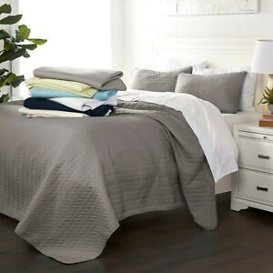 Luxury Ultra Soft Herring Quilted 3 Piece Coverlet Set - Sharon Osbourne Home