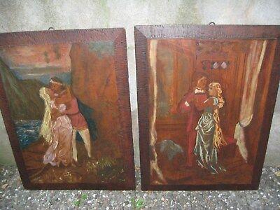 2 Holzbilder 75 X 54cm Früher Mal Schrankfüllung!!!! In Den Spezifikationen VervollstäNdigen