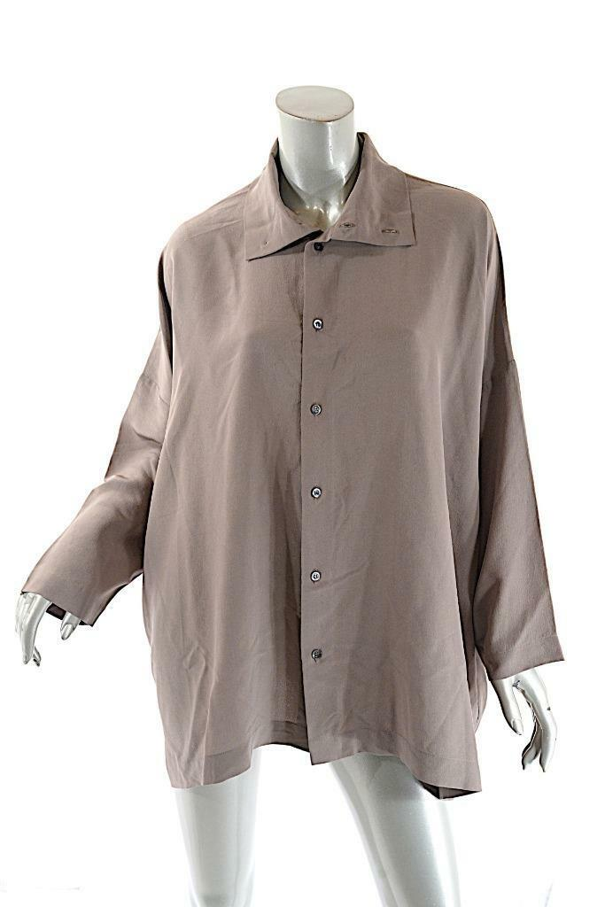 ESKANDAR Taupe 100% Silk Relaxed Button Down Shirt with Side seam Vents  Sz 1