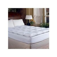 King Feather Bed Topper Mattress Cover Pad Luxury Bedding Down Real Thick White