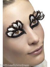 Largo Feather Pestañas Black Brown & White Pestañas Leopardo Animal Fancy Dress