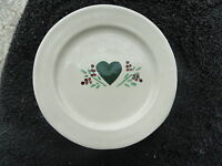 Patton Pottery Hunter Green Heart Red Berries Cream White Salad/Dessert Plate