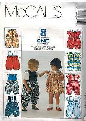8747 UNCUT Vintage McCalls SEWING Pattern Infant Jumpsuit Romper S - XL OOP NEW