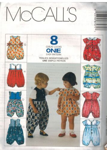 XL OOP NEW 8747 UNCUT Vintage McCalls SEWING Pattern Infant Jumpsuit Romper S