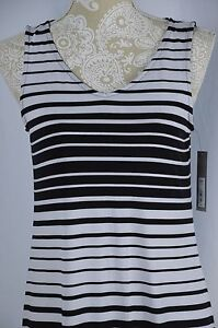 Apt 9 Womens Medium Black White Tank Top Maxi Dress Long Striped V