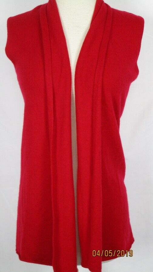 Neiman Marcus CASHMERE Long Vest M Bright  Red SO Soft