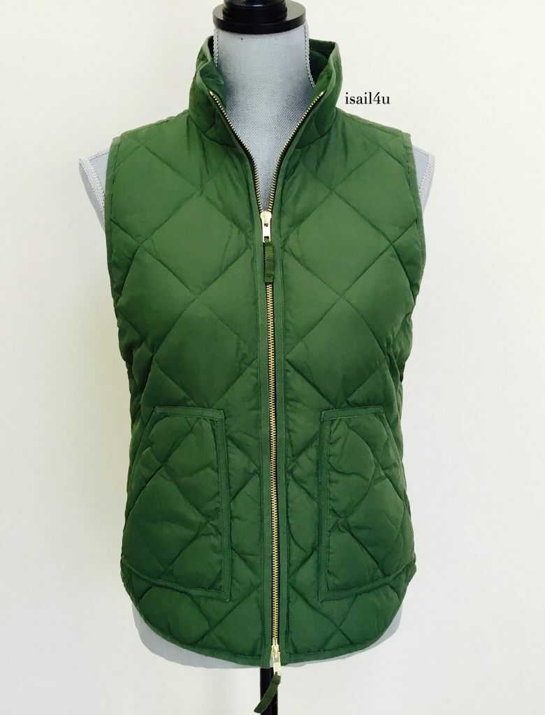 J. Crew Factory Excursion Down Quilted Puffer Vest In Vintage Palm NWT XL