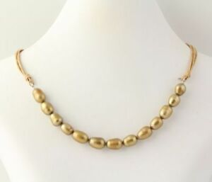 New-Beaded-Necklace-Sterling-Silver-Golden-Freshwater-Pearls-Multi-Strand-20-034