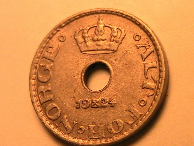 1924 NORWAY 10 Ore Ch AU+ / BU Lustrous Light Toned Ten Ore Norwegian Norge Coin