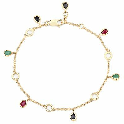 Rubine,blaue Saphire-silber/gold-5,23 Karat Less Expensive Jewelry & Watches Armband/armbändchen-echte Smaragde
