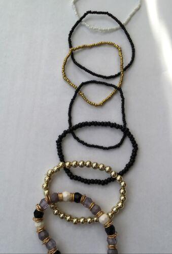 Moda 7 piezas Imitación de Piedra Perlas Pulsera Elástica con borlas de mezcla