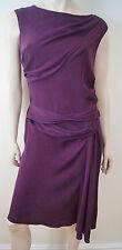 DVF DIANE VON FURSTENBERG Scarlet Burgundy Red Silk Stretch Draped Dress 8 UK12