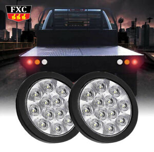 2x-White-12-LED-4-Inch-Round-Surface-Back-up-Reverse-Tail-Light-Truck-Lorry-Bus
