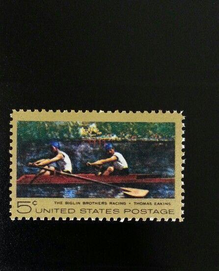 "1967 5c Thomas Eakins ""Biglin Brothers Racing"" Painting"