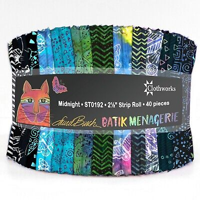 "Batik Jewels Wind Chill 40 Strips 2-1//2in 2.5/"" Jelly Roll Rollup Fabric 84170"
