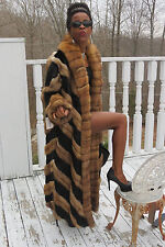 New Designer Full length Black Mink & Genuine Russian Sable fur Coat M-L 8-14