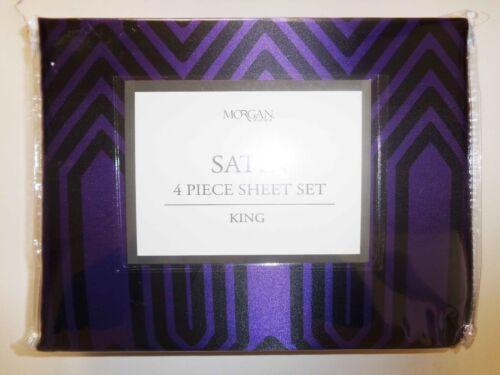 Black Print Satin Sheet Set New in Package NWT Great Morgan King 4 Pc Purple