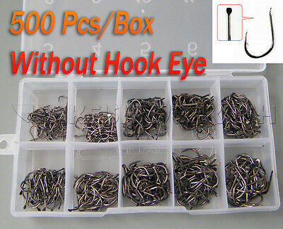 New! (500Pcs/set) #3~12 Black Fishing Hooks In Box Fresh water