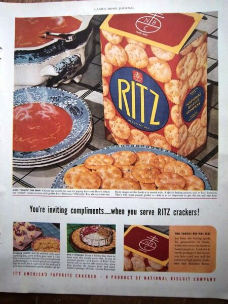 1940 RITZ CRACKERS Tomato Soup Blue Transfer Bowl Ad