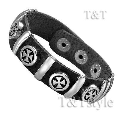 TTstyle Punk Multi- Iron Cross Black Leather Bracelet Wristband