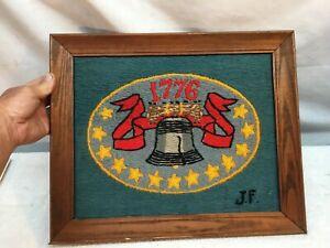 Vintage Bicentennial 13 Star With Liberty Bell 1776 Cross Stich Wall Art Framed
