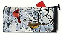Winter Morning Cardinals Magnetic Mailbox Cover 1 Numbers Made In Usa