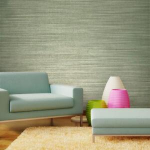 Image Is Loading Vinyl Wallpaper Green Textured Plain Horizontal Stria Lines
