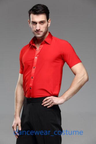 Men Party Ballroom Latin Modern Tango Samba Jazz Salsa Dance Shirt Tops SZ 39-43
