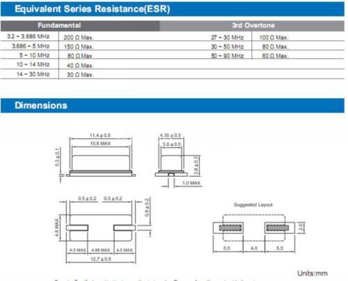 20PCS 12M 12MHz 12.000M 12.000MHz Crystal Oscillator HC-49S//SMD