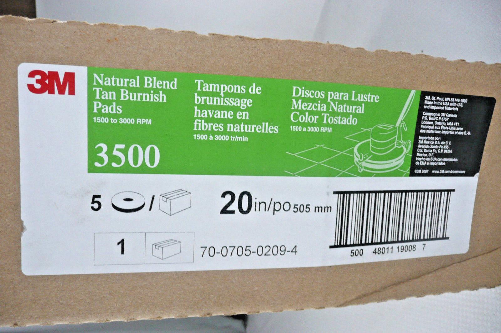 3M Natural Blend Tan Burnish Pads 3500 20