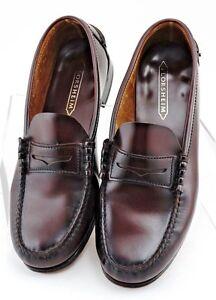 FLORSHEIM Mens Burgundy Leather Slip On Moc Toe Dress Penny Loafers Shoes 10 D