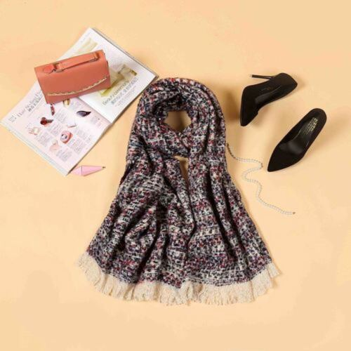 Ladies Check Long Chunky Knitted Wool look Scarf Womens Winter Fashion Accessory