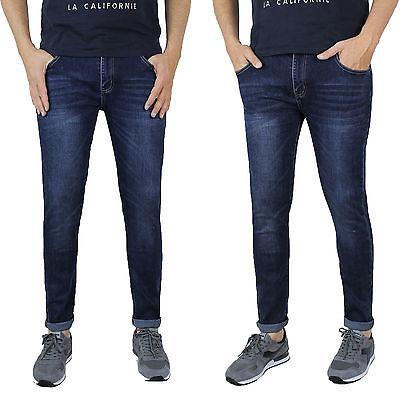 Vaqueros De Hombre Casual Slim Fit Pantalones 5 Bolsillos Denim Azul Pitillo