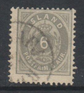 Iceland-1896-1900-6a-Grey-stamp-Perf-12-1-2-F-U-SG-29-or-29a-b