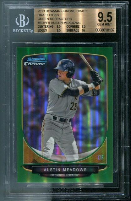 Austin Meadows 2013 Bowman Chrome Draft Green #/75 Refactor Prospect RC BGS 9.5