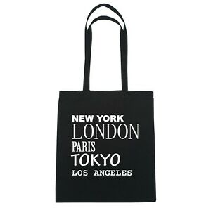New York, London, Paris, Tokyo LOS ANGELES - Jutebeutel Tasche - Farbe: schwarz