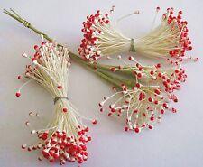 Vintage Flower Stamens Wired Millinery, Floral Craft, Dolls, White/Fuschia Pink