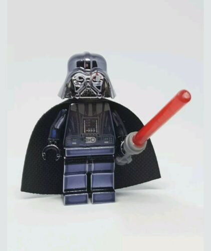 Custom Lego Star Wars Chrome Darth Vader Minifigure RARE