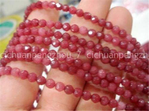 """Natural 4mm Brasil Facetado Rojo Ruby redonda suelta granos 15/"""" Belleza"""