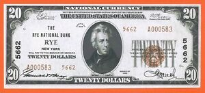 RARE Rye National Bank, New York, Fr-1802 Ty-2, Ch Unc 64  $20 1929 currency; NY