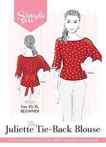 Womens-BEGINNER-The-Simple-Sew-Juliette-Tie-Back-Blouse-Ladies-Sewing-Pattern