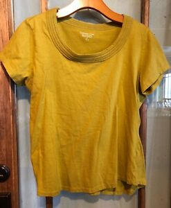 Coldwater-Creek-Mustard-Yellow-Scoop-Neck-Tee-Shirt-Top-Women-039-s-Size-Medium-EUC
