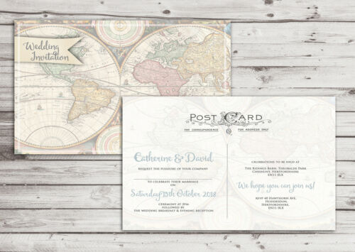 PERSONALISED VINTAGE MAP//POSTCARD WEDDING INVITATIONS PACKS OF 10