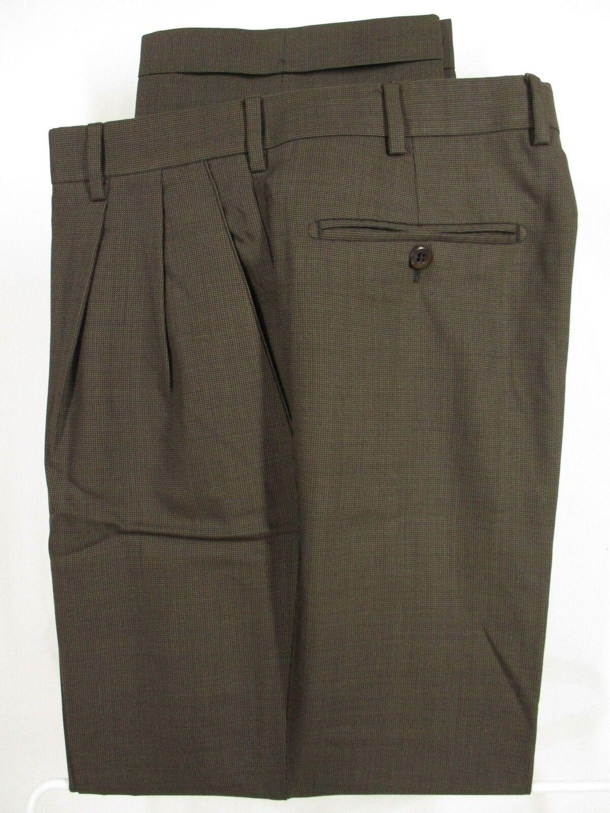 Zanella Bennett Mens Brown Pleated Wool Dress Pants Size 35 34x29