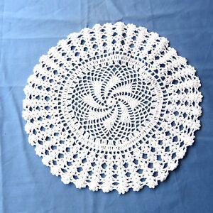 "Vintage Crochet Lace Doily White Cotton 11"" Round"