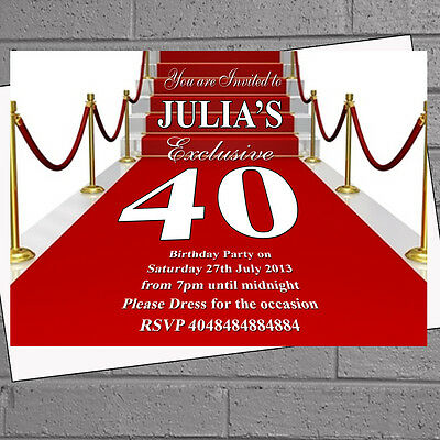 Red Carpet Vip Personalised Party Invitations