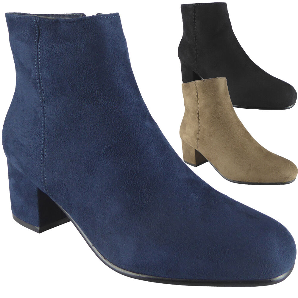 Gentleman/Lady New Ladies Womens Faux Suede Chunky High Block Shoes Heel Plain Ankle Boots Shoes Block Size Packaging diversity Quality and quantity guaranteed Non-slip VB3623 e80fbb